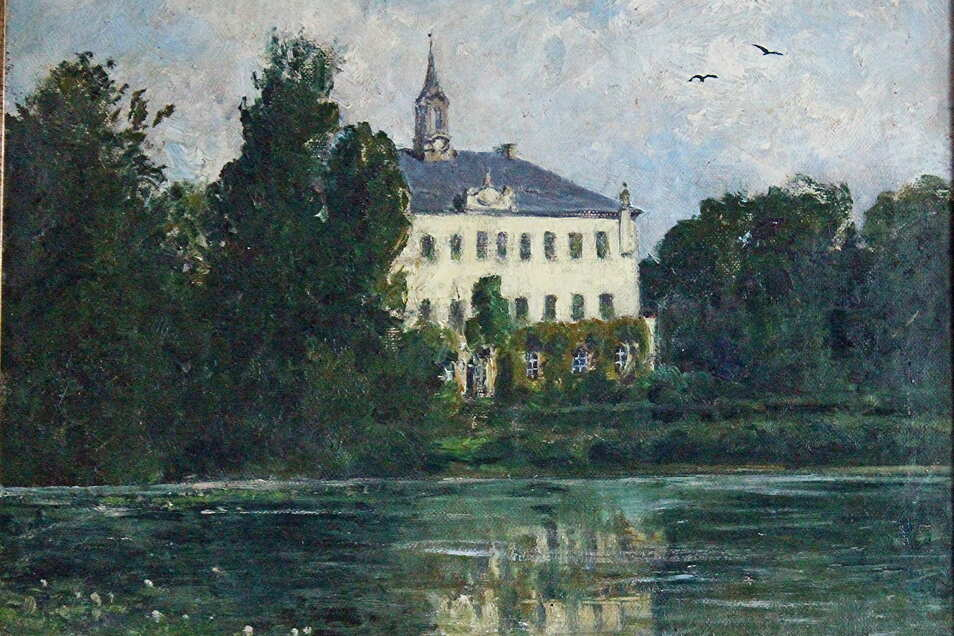 Der Dresdner Hofmaler Emil Rieck vollendete diese Lauterbacher Schlossansicht in der Zeit um 1900.