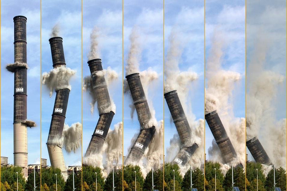 Die Sprengung der Türme war spektakulär und wurde mit moderner Technik festgehalten.