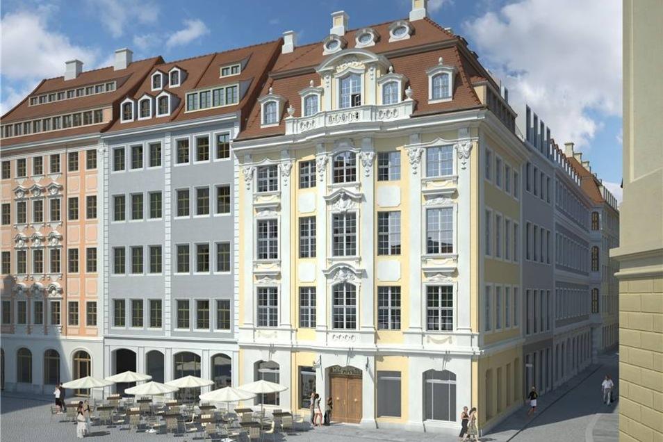 Das gelbe Dinglingerhaus wird das bekannteste Gebäude im neuen Areal sein. Es wird wieder originalgetreu aufgebaut.