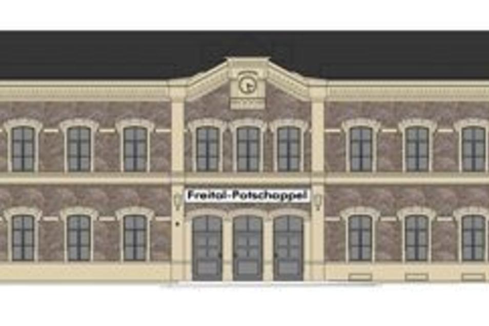 So soll der Bahnhof Potschappel nach der Sanierung aussehen. Neu sind die beiden modern gestalteten Obergeschosse der Zwischenbauten.