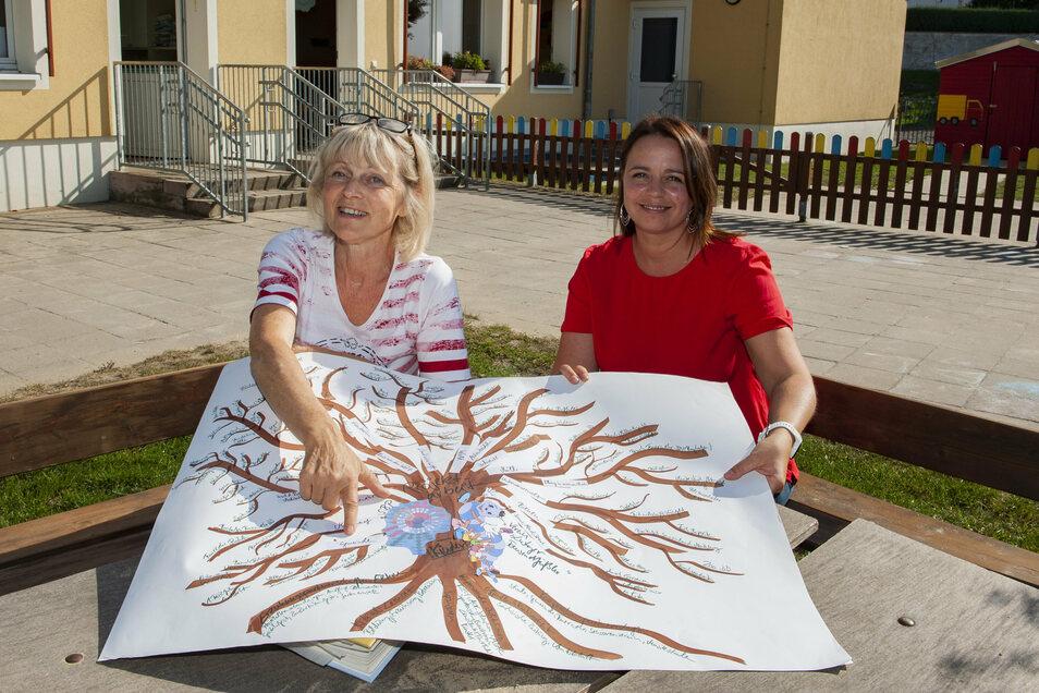 Die langjährige Erzieherin Birgit Schumann (l.) und die Leiterin des Kindergartens Sandra Herzenberger sind von ihrem Konzept überzeugt. Wie ein Baum entwickelten sich immer neue Möglichkeiten.