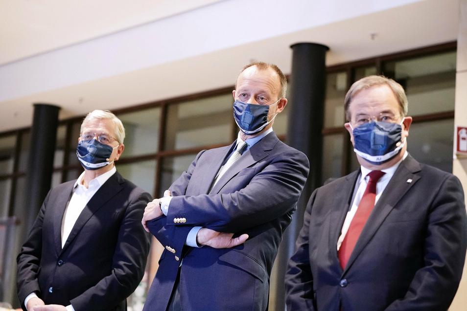 Die drei Kandidaten für den Bundesvorsitz der CDU, Armin Laschet, (r-l) Friedrich Merz und Norbert Röttgen haben sie sich den Fragen der Jungen Union gestellt.