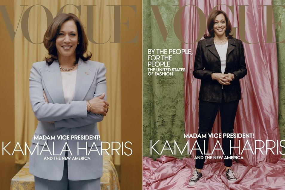 Nach der Kontroverse um das Cover-Bild der Vogue (rechts) hat die US-Modezeitschrift eingelenkt. Sie kündigte eine limitierte Auflage der Februar-Ausgabe mit einem Foto von Harris in formeller Pose mit einem hellblauen Hosenanzug an.