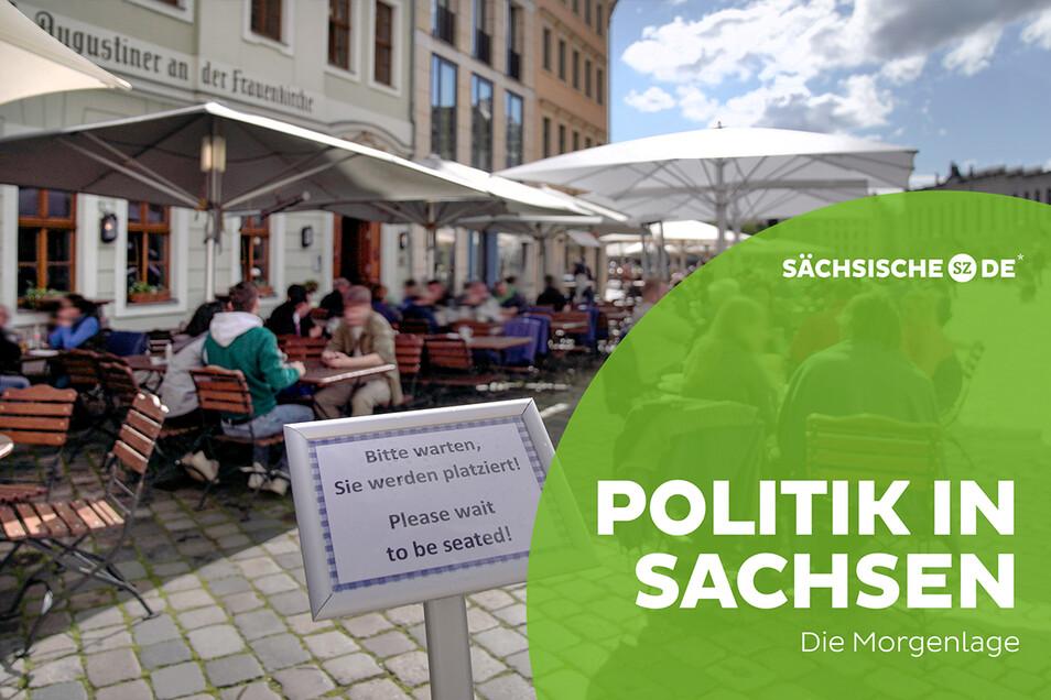 Die Gaststätten am Dresdner Neumarkt sollen demnächst auch innen wieder öffnen können. Es fehlt nur noch das Okay des Datenschutzbeauftragten.