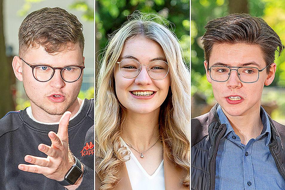 Jonas Gellrich, Lisa Petzold und Niklas Thiele (v.l.n.r.) haben in diesem Jahr in Riesa das Abitur abgelegt.