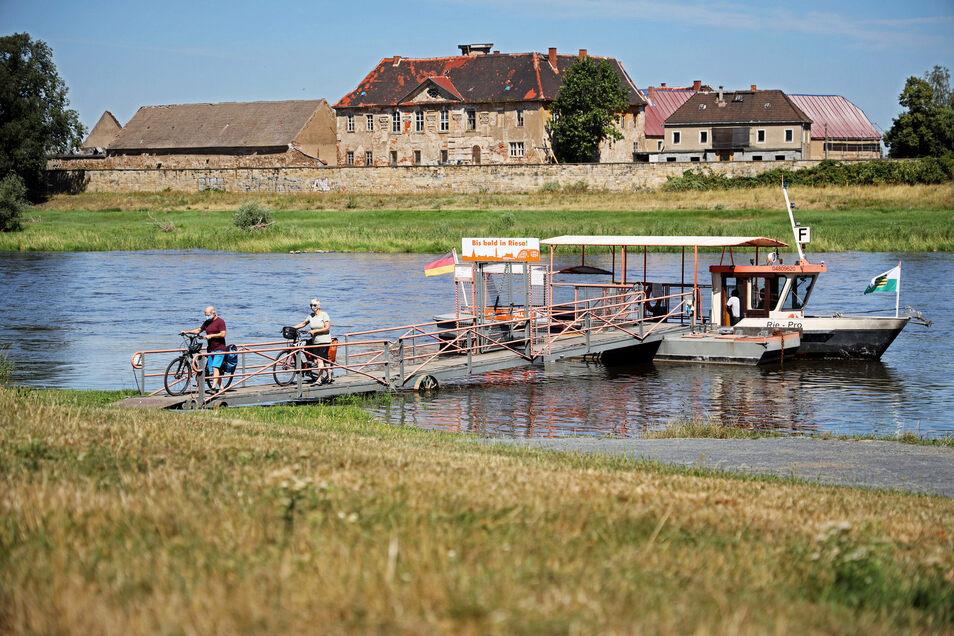 Die Fähre Riepro setzt von Riesa nach Promnitz (im Hintergrund) über die Elbe. Nun kam plötzlich eine Debatte auf, ob man sie nicht einsparen könne.