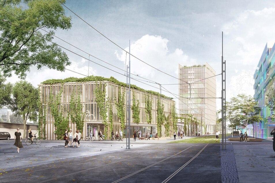 Blick vom Wiener Platz in Richtung Budapester Brücke: Hinter Fahrradparkhaus und Busbahnhof könnte laut Machbarkeitsstudie von Knerer und Lang auch ein Hochhaus entstehen.