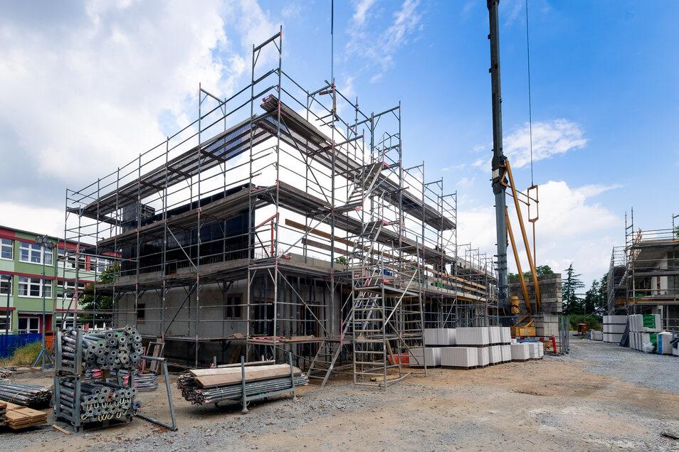 Am Schützenplatz in Bautzen gehen die Bauarbeiten voran. Hier entsteht eine neue Kindertagesstätte.