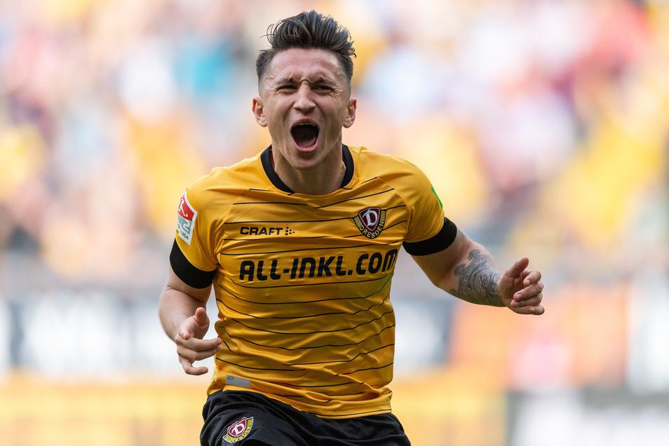 Einer der wenigen Glücksmomente für Baris Atik in seinen zwei Jahren bei Dynamo Dresden: Beim Heimsieg gegen Paderborn im Mai 2019 erzielt er das Tor zum 3:1-Endstand.