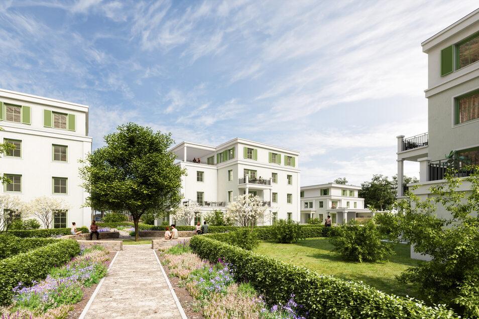 """Neuer Wohnpark """"Sandsteingärten"""" in Pirna: Eine große zentrale Grünfläche zwischen den Parkvillen."""