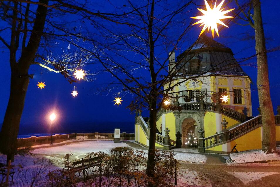 Weihnachtliche Stimmung, aber ohne Besucher. Die Festung Königstein ist seit November im Lockdown.