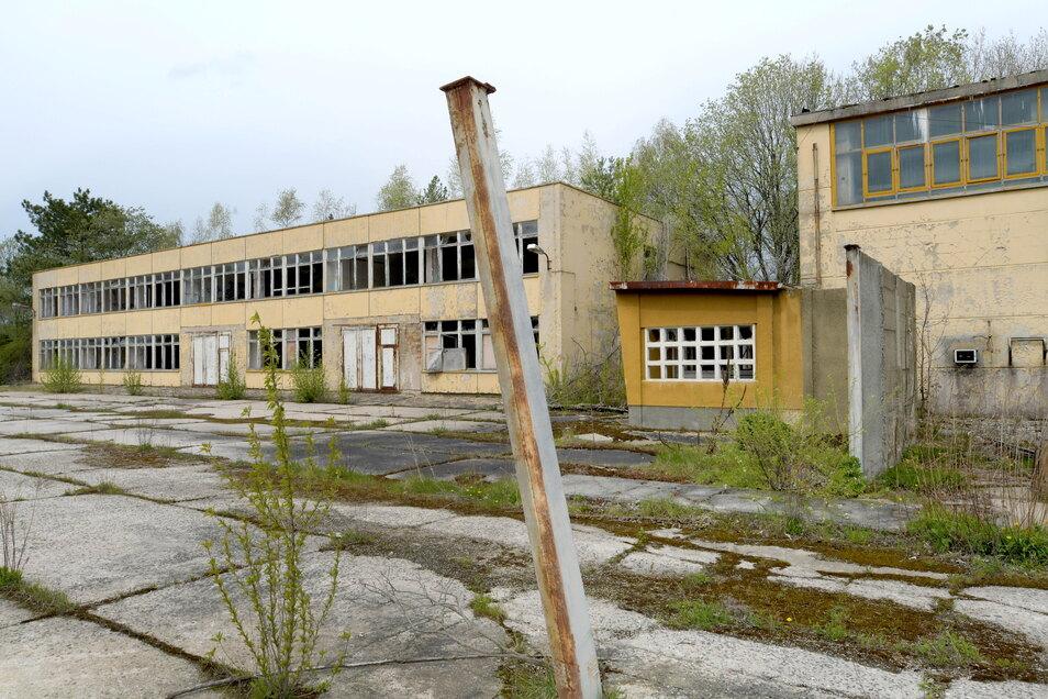 Klassische Zweckbauten für Schulungen auf dem Gelände der Offiziershochschule. Auf den Dächern wuchert ein kleiner Wald. Alles ist sehr marode.