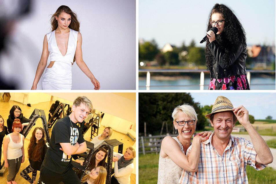 Sie suchen und suchten ihr Glück in TV-Shows (im Uhrzeigersinn): Romy aus Hirschfelde, JeLa aus Rietschen, Annett aus Zittau und Maik aus Weißwasser.