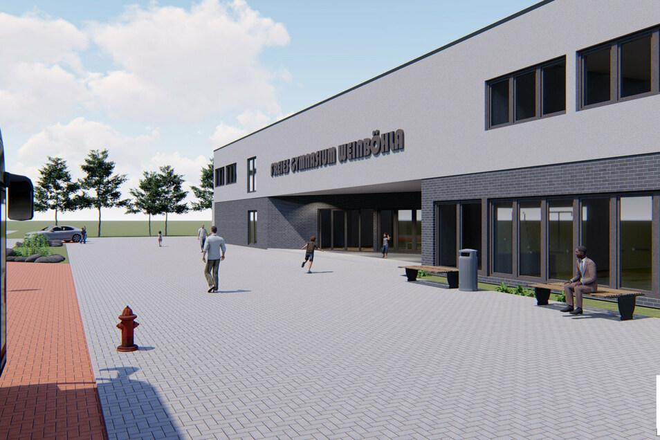 Die Visualisierung zeigt das geplante Gebäude des Gymnasiums in Weinböhla. Wann der Baustart erfolgen soll, ist noch nicht klar, ursprünglich sollte es Anfang Mai losgehen.