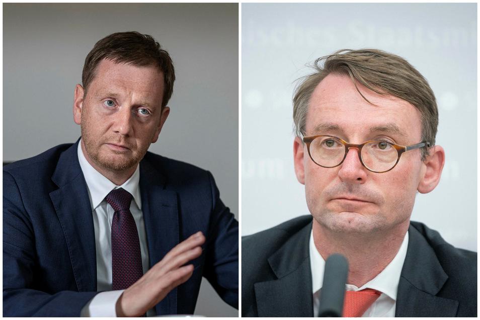Sachsens Ministerpräsident Michael Kretschmer (l.) spricht Innenminister Roland Wöller (beide CDU) sein Vertrauen aus.