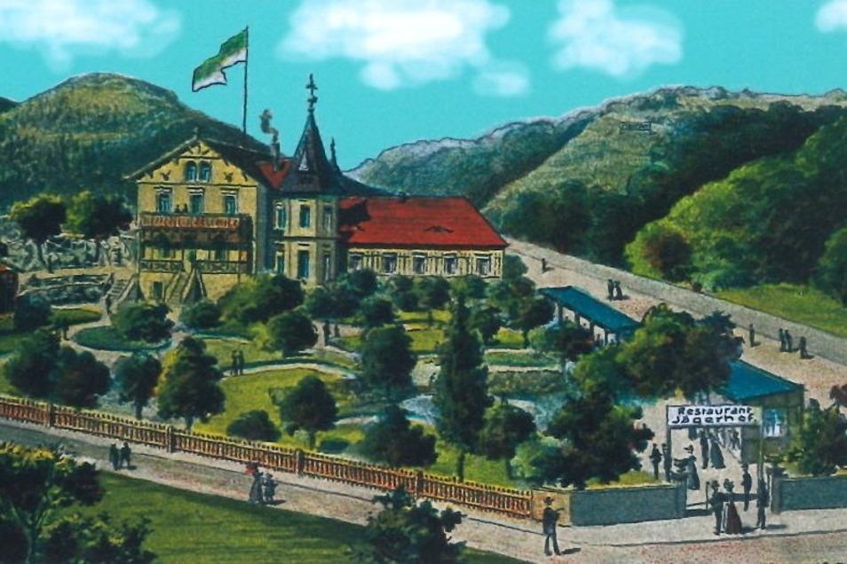 Die typische Postkarte vom Jägerhof am östlichen Beginn der Niederlößnitz - früher ein florierender Gasthof.