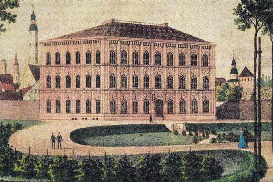 Zeitgenössische Darstellung der neuen Zittauer Baugewerkschule, deren Grundstein vor 175 Jahren gelegt wurde.
