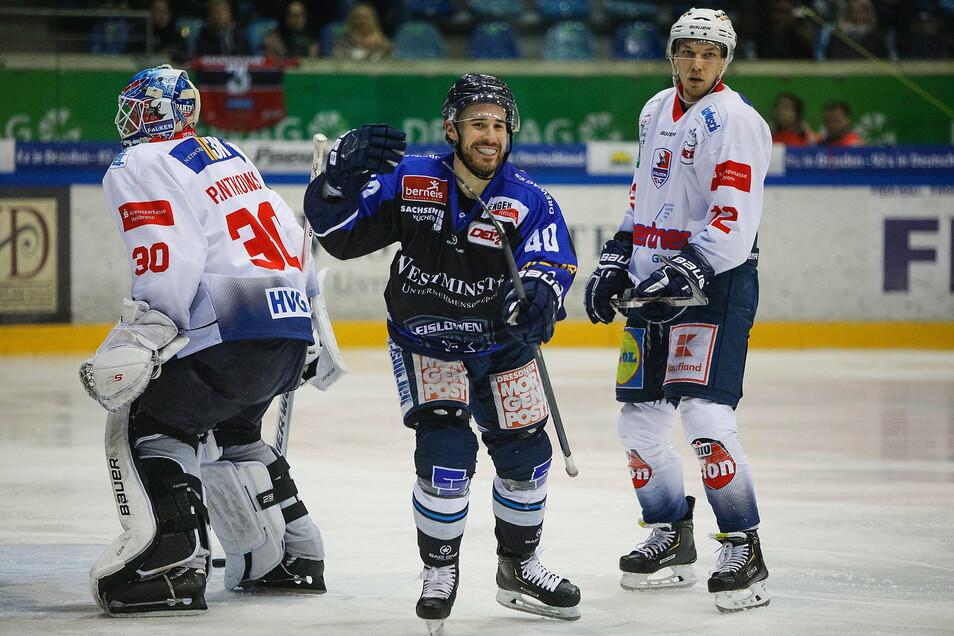 Nick Huard war am Freitag mit drei Toren der Matchwinner der Dresdner Eislöwen.