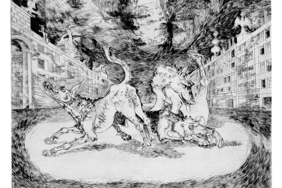 """Hans Grundig """"SA beherrscht die Straße"""" (Brauner Terror), 1935"""