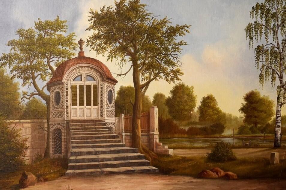 Dieses Bild steht auf der Staffelei: der frühere Pavillon im Lauterbacher Park.