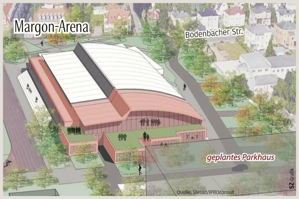 So soll die neue Margon-Arena aussehen: Sie wird zusätzlichen 600 Gästen Platz bieten, in einem Anbau sind weitere Trainingsflächen geplant. Für das Parkhaus im Vordergrund soll eine Alternative gefunden werden, um die Tennisplätze dort zu erhalten.