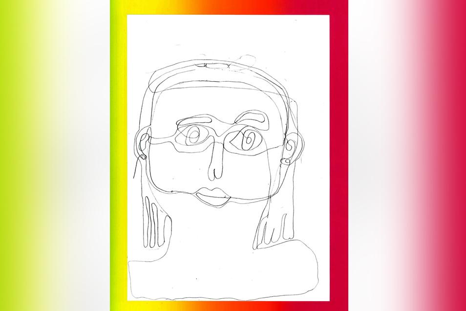 """Mit """"Wirrwarr in meinem Kopf"""" ist das Bild der Viertklässlerin Magdalena Tschörpe überschrieben. Gestaltet ist es in Line-Art, einer Form der Grafik, die nur aus Linien besteht und auf farbige Flächen verzichtet. Es sollte eine Art Selbstporträt entstehen"""