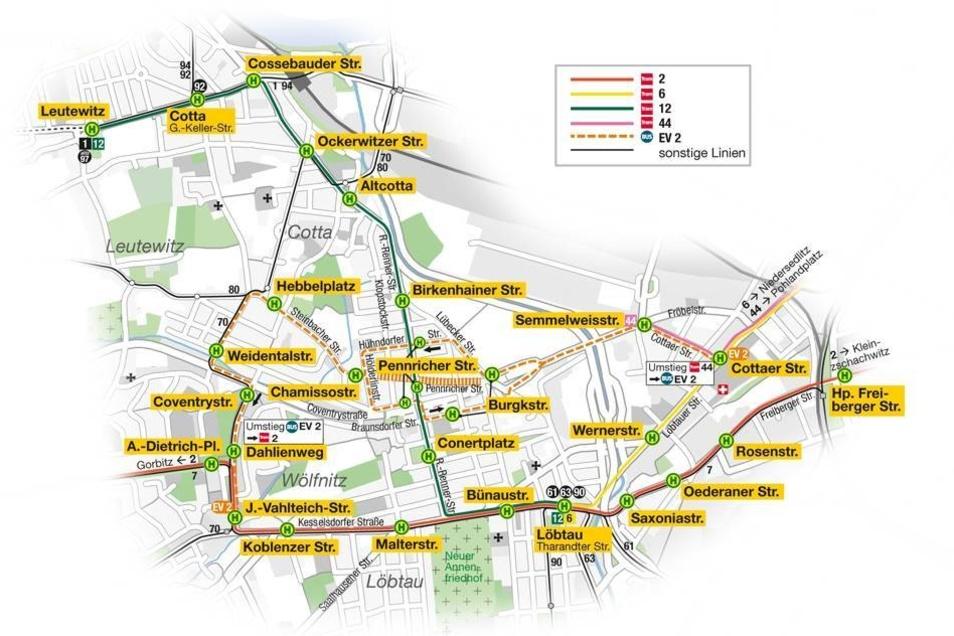 Nicht nur die Bauarbeiten an der Schandauer Straße sorgen für Einschränkungen, auch im Westen Dresdens wird ab 14. April bis zum 22. Juni gebaut. Grafik als pdf