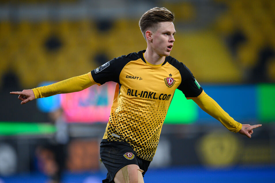 Gegen den starken Aufsteiger Verl einer der auffälligsten Spieler bei Dynamo: der zweifache Torschütze Julius Kade.