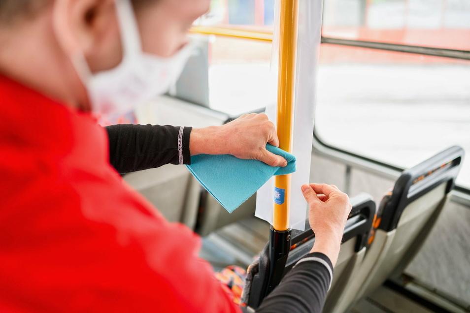 Busse und Straßenbahnen werden mit der Folie beklebt.