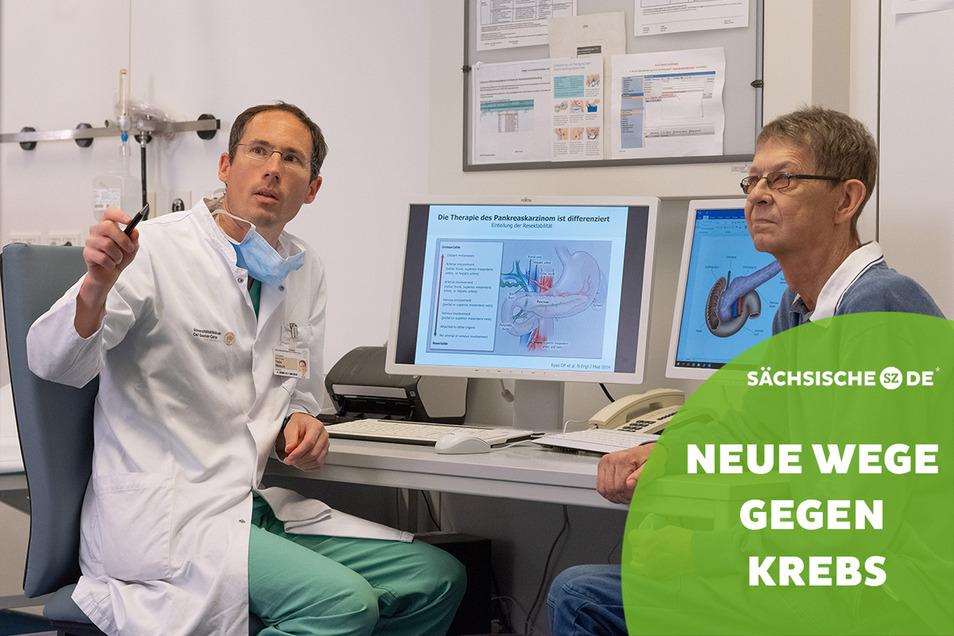 Erste Kontrolle nach Chemotherapien und OP. Der Chirurg und Onkologe Professor Thilo Welsch erklärt Krebspatient Manfred Taeger, wie es weitergeht.