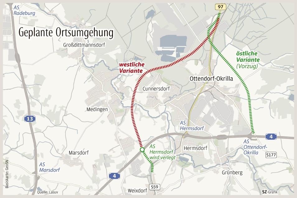 Die geplante Ortsumfahrung in östlicher und westlicher Variante.