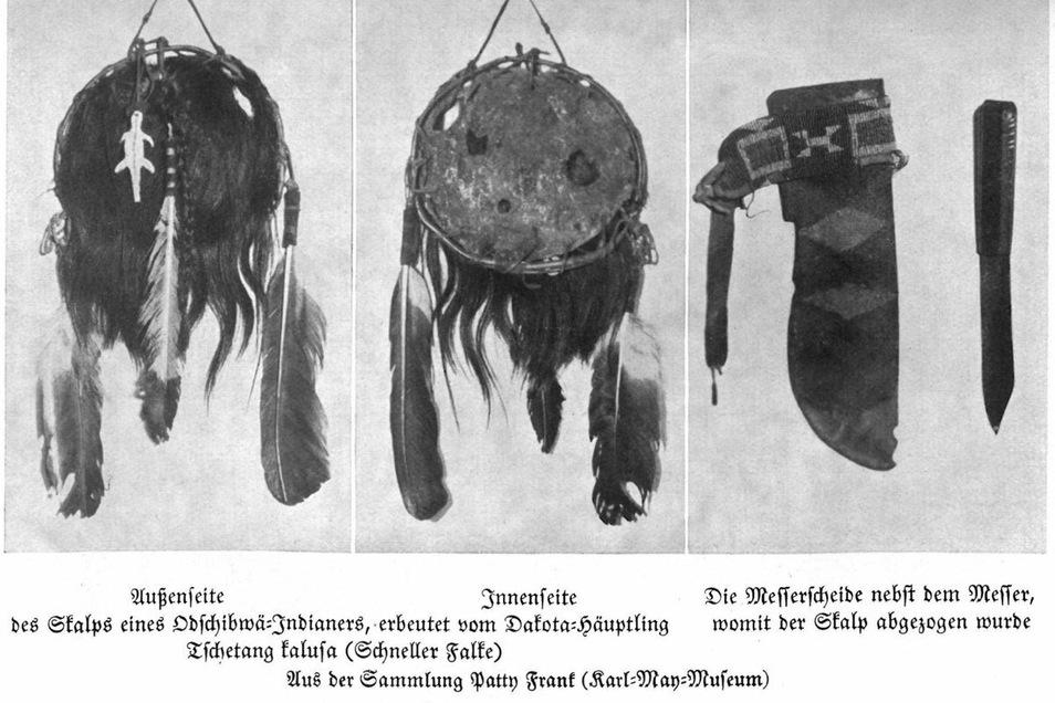 Abbildungen von Skalpen im Karl-May-Jahrbuch. Bei seinen Reisen als Artist in den USA hat Patty Frank diese Trophäen von Indianern erworben und mit nach Radebeul ins von ihm gegründete Museum gebracht.