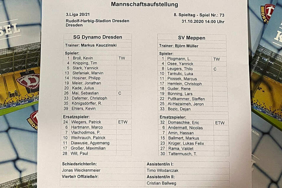 Im Spiel gegen den SV Meppen vertraut Markus Kauczinski zunächst folgender Aufstellung.