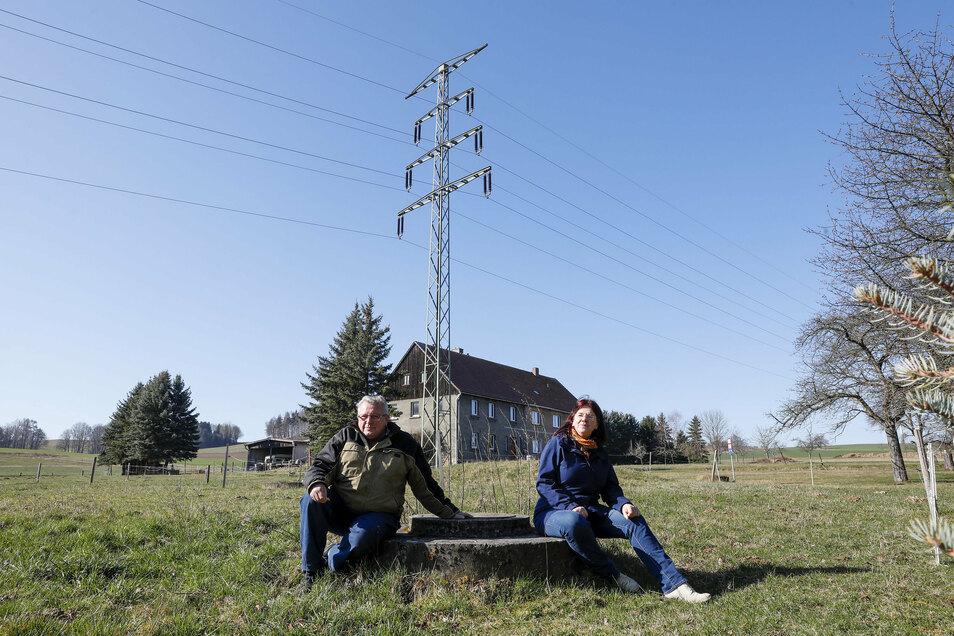 Strommasten über den Grundstücken in Lauba: Kerstin Schlagehan (rechts) und Nachbar Klaus Peter Liebe hätten die Leitungen gern nicht mehr über ihren Köpfen.
