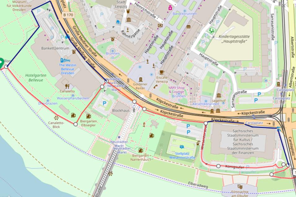 Die blaue Linie kennzeichnet die Umleitung in den Bauphasen der Veranstaltung, die rote markiert den Verlauf während der viertägigen Wettbewerbe.