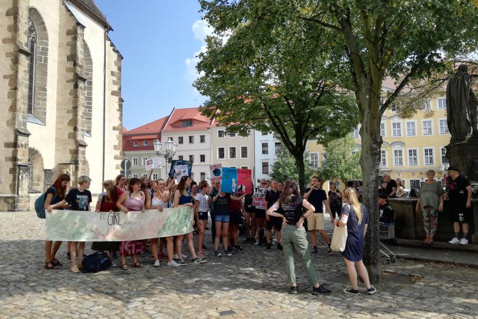 Kinder und Jugendliche aus Bautzen gingen am Freitagnachmittag für mehr Klimaschutz auf die Straße.