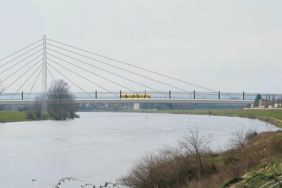 In der Untersuchung von drei Brückenstandorten zwischen dem Ostragehege und Pieschen wird diese Variante mit dem Pieschener Brückenkopf an der Flutrinne favorisiert.