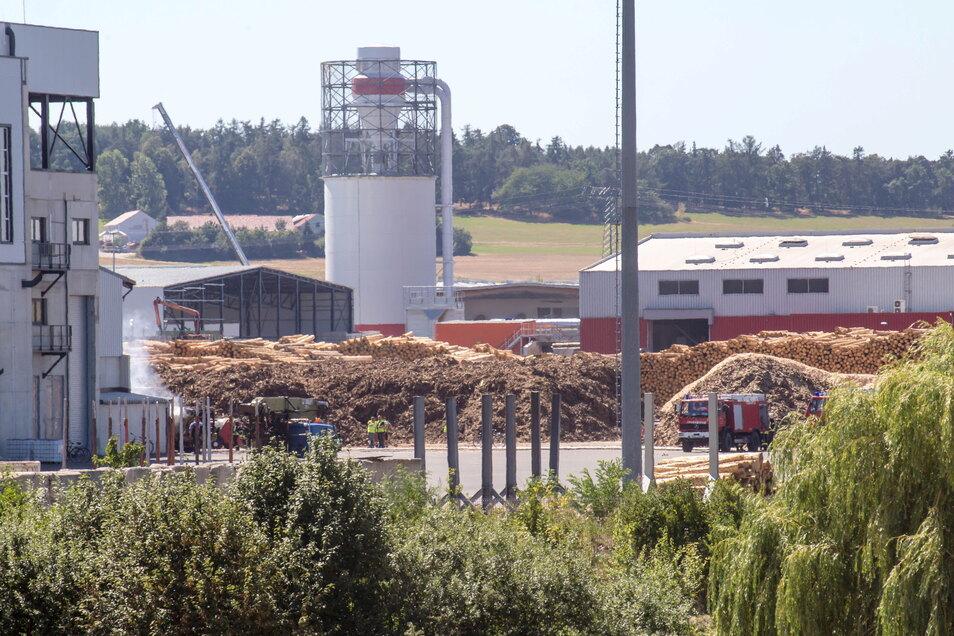 Durch die im Kodersdorfer Sägewerk von HS Timber Productions lagernden riesigen Holzvorräte besteht dort nach Informationen der Feuerwehr immer ein erhöhtes Gefahrenpotenzial.