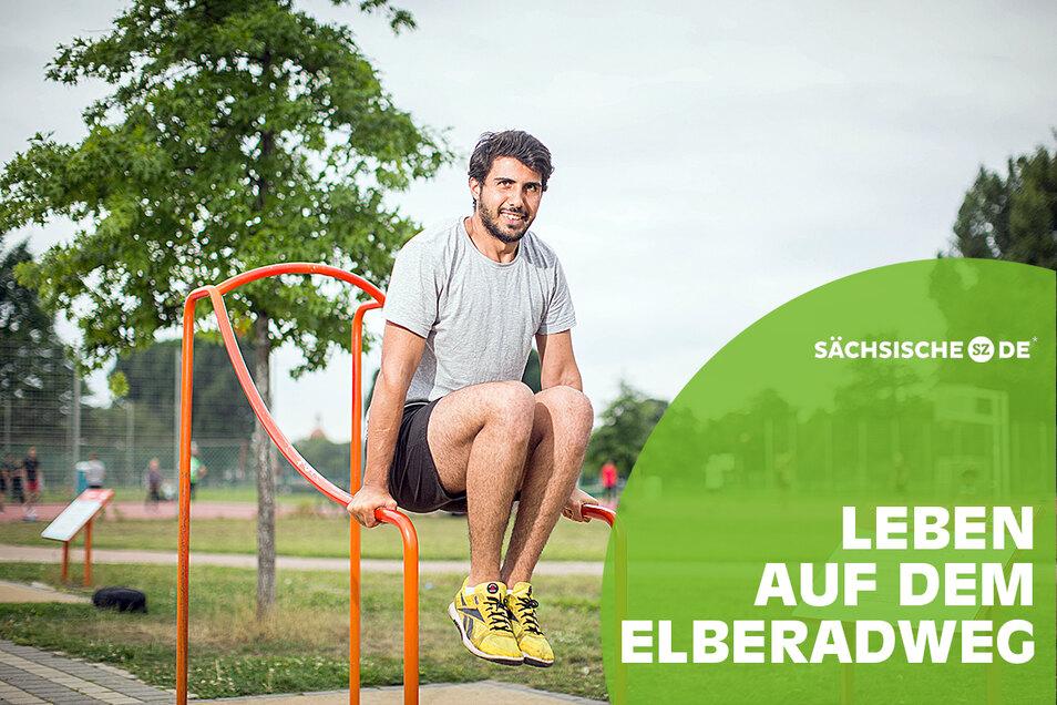 Der 27-jährige Mohammed Nouh kommt regelmäßig in den Ostra-Sportpark, um sich fit zu halten.