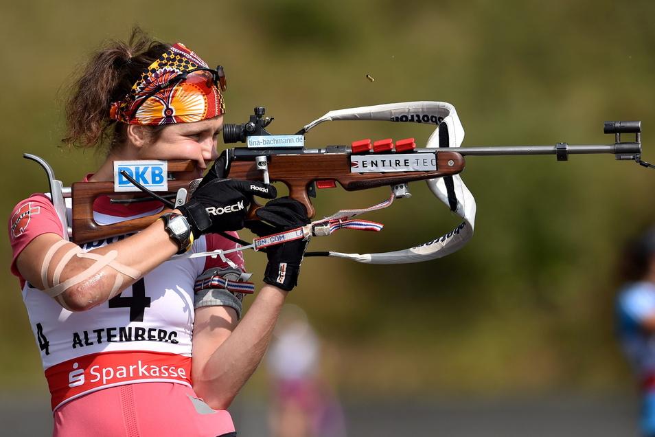 Tina Bachmann bei den deutschen Meisterschaften 2014 in Altenberg, 2016 beendet sie ihre Karriere.