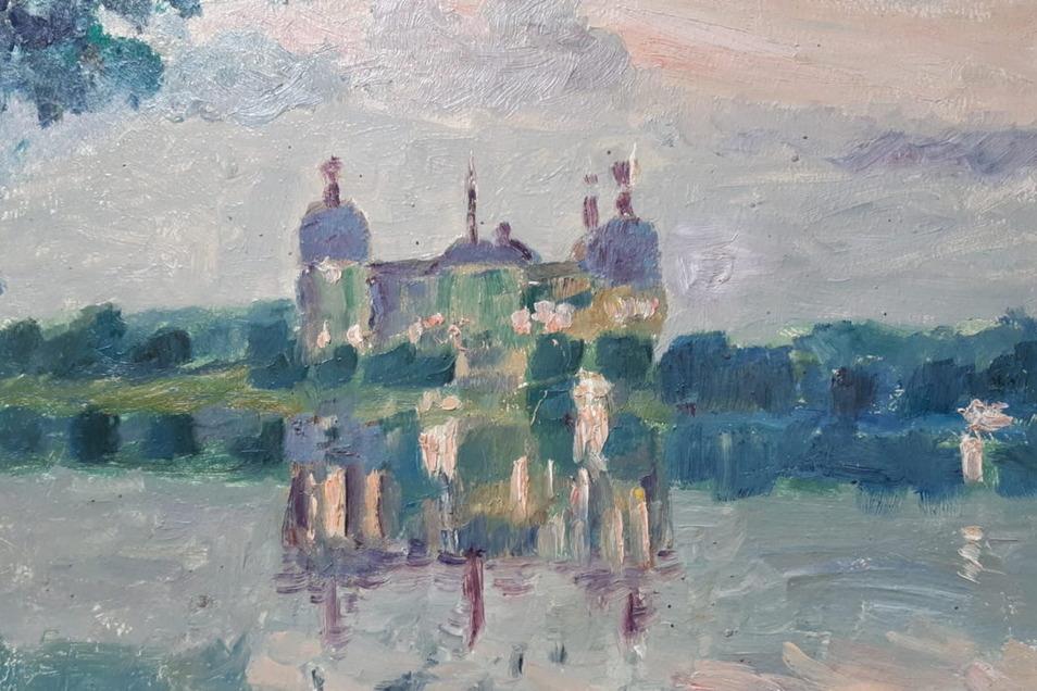Beim Moritzburgbesuch des russischen Malers Alexander Archipowitsch Krjukow ist dieses Bild in Ölfarben entstanden.