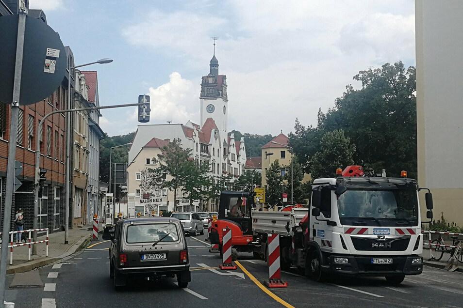 Baustelle auf der Dresdner Straße in Freital-Potschappel. Nicht die einzige in der Region.