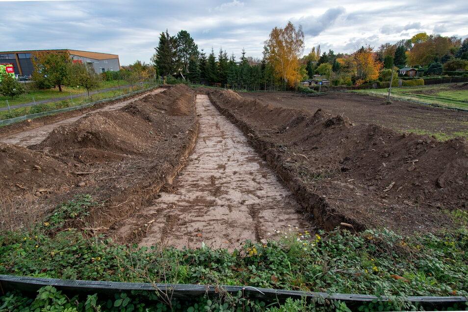 Erste Voruntersuchungen auf dem Aldi-Baugrundstück in Leisnig haben keine Hinweise auf eine frühere Besiedlung dieses Stück Land gebracht.