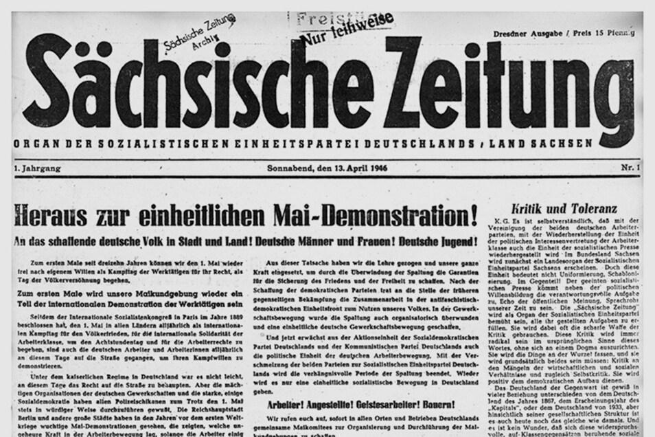 Am 13. April 1946 wurde die erste Ausgabe der SZ gedruckt. So sah sie damals aus.