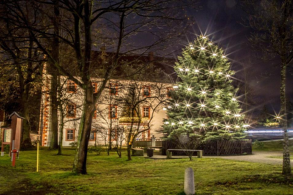 Der Weihnachtsbaum vor dem Gemeindeamt in Kodersdorf wird auch in diesem Jahr leuchten.