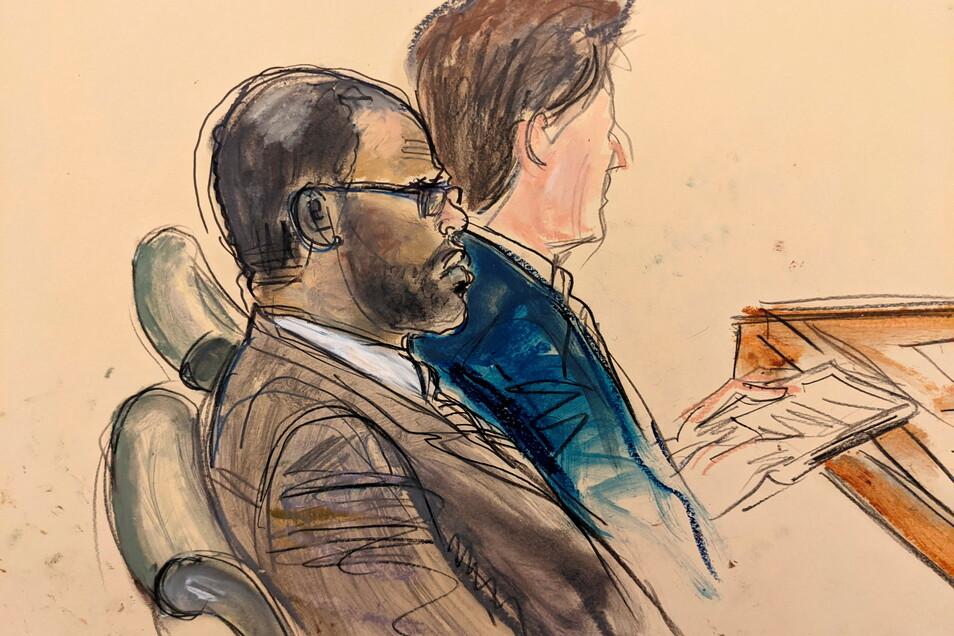 Auf dieser Gerichtszeichnung, die von einem Videomonitor eines Gerichtssaals in Brooklyn gemacht wurde, zeigt den Angeklagten R. Kelly (l).