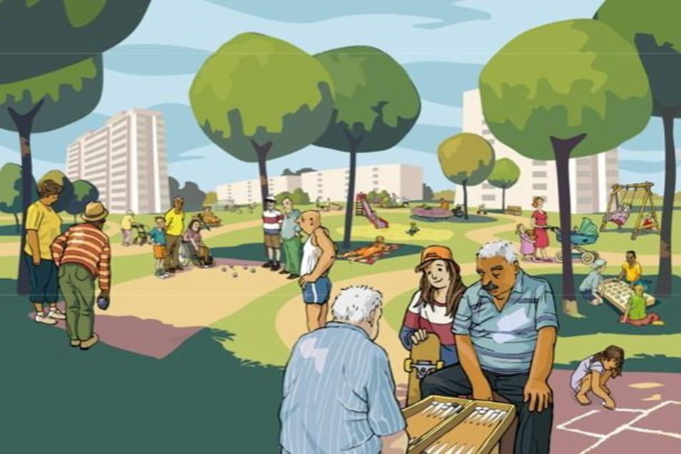 """Vision für den neuen """"Spielpark ohne Grenzen"""" auf dem Sonnenstein: Ein Spielareal für alle Generationen."""