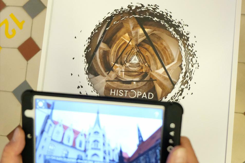 Wird das Histopad auf den Kreis mit dem Bild gehalten, tut sich ein Zeittunnel auf, der den Betrachter in die Vergangenheit mitnimmt.