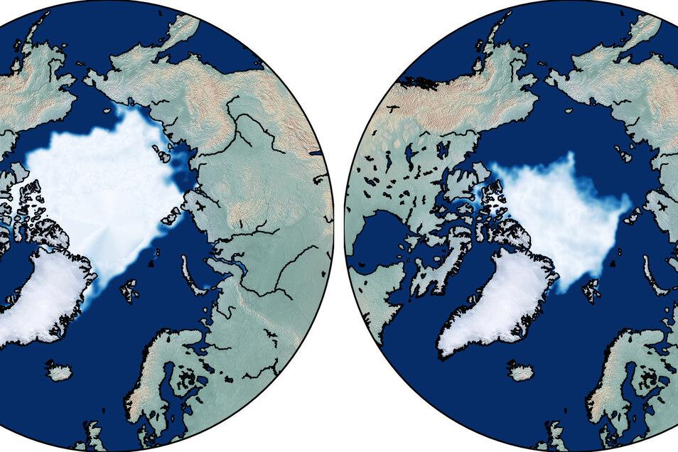 Diese grafische Darstellung zeigt die Meereisfläche in der Arktis zum Ende des arktischen Sommers im September 1979 (l) und ein entsprechendes Bild zeigt die geschrumpfte Meereisfläche in der Arktis im September 2019 (r).