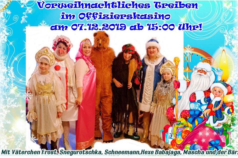 Ab 15 Uhr ist am Sonnabend Weihnachtsmarkt mit den bekannten russischen Figuren.